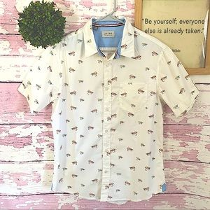 JACHS White Fly Fishing Button Down Shirt Small